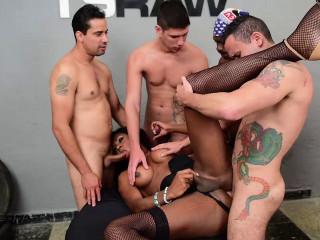 Hot TS Andreia Scofani Likes Interracial Gangbang
