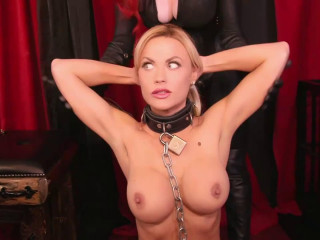 Tight bondage, domination and spanking for naked blonde