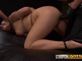 Lexy Villa & Mila Blaze Destroy Mena Li's Vag with Massive Strap dildo Faux-cocks