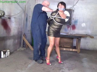 Chubby brat punished with a weighted crotch string