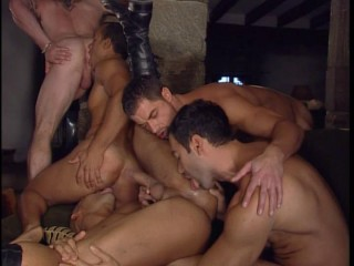 Hot gangbang with double fuck