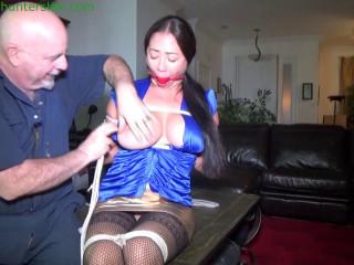 Hot Asian bondage toy breast bound, reverse prayer, hogtie