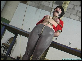 Breast Bondage, ring gag and a Tight crotchrope for Alison - Scene 2
