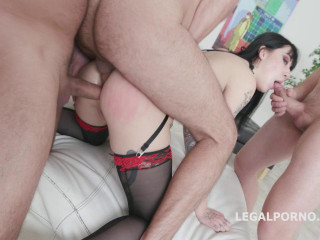 BlackEned with Charlotte Sartre 4white then 4 black Balls Deep Anal