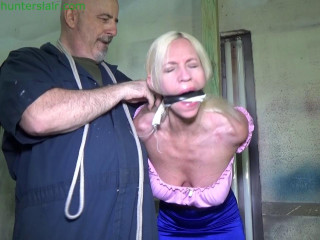 Brutally gagged for sick crotch rope & strict breast bondage torment