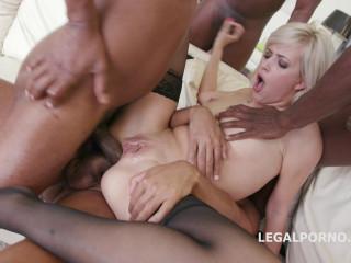 Dirty Blond Ria Sunn Gangbanged & Dap'ed By Many Huge Cock
