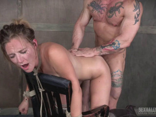 Chair bound and brutally double fucked, Squirting screaming deepthroat!
