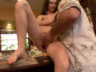 Mega-slut in a short micro-skirt takes a humungous wood