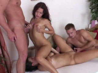Orgy of four bisexuals
