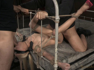 SexuallyBroken - May 15, 2015 - Lean eyes covered blonde Odette Delacroix tied down