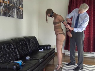 Tape Bound - Slim Milf wrapped in pantyhose and electrical tape galore