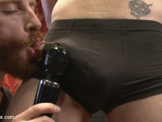 Wolf Hudson's giant uncut cock gets tied up and relentlessly edged
