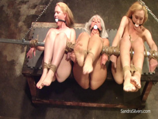 Beautiful Buxom Bumpkin Abuses Three Barefoot, Bound, Ballgagged
