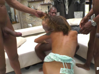 Malena and four cocks to suck