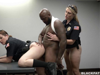 Interracial sex with busty police women