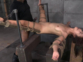 Chinese bitch Marica Hase toughly drilled by Ten inch Big black cock in stringent bondage, cums rock-hard and fast!