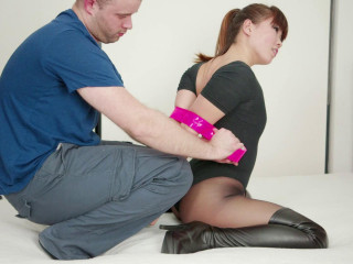 Taped, Gagged, Hooded, Armbinder'd & Belted