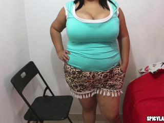 Ample Mounds Cougar Plumper latina got fluid on her boobies