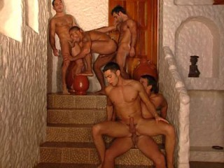 Sexy soldiers in raw gangbang with DP