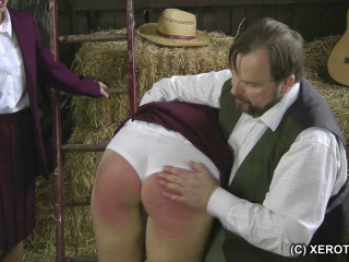 School Girls Paddled In The Hay Barn - Jenna and Kiki - HD 720p