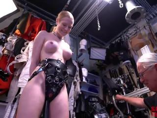 Bondage, domination and torture for hot naked blonde part 1