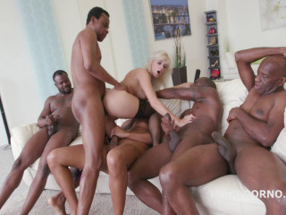 Blond Slut Ria Sunn Loves Brutal Interracial Gangbang With DP