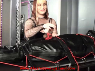 Ebony Muscleman Leather Sleepsack Bondage FemDom CBT Handjob