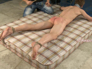 Bryan6-l - Bound by his wrists and ankles, arse caned, spanked