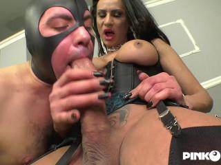 Big Dick Tranny Miranda Pinocchio Fucks Mask Slave