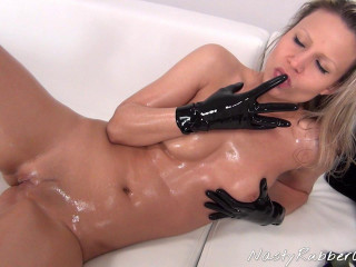 Horny Rubber Masturbation, Dressing, Dildo Fuck Part One