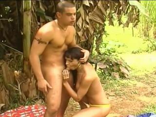 Hot Brazilian Tranny Fucking in Forest