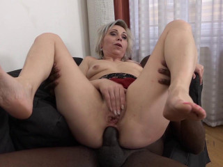 Kathie White - White Hair Cougar Gets Fucked
