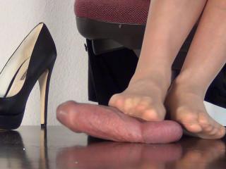 Secretary Alina - Dominant Footjob for her Boss