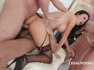 Rough 4on1 anal gangbang with big tits babe Jasmine Jae