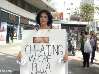 Cheating Wife's Big Hot Ass Shamed Fully Naked In Public Display
