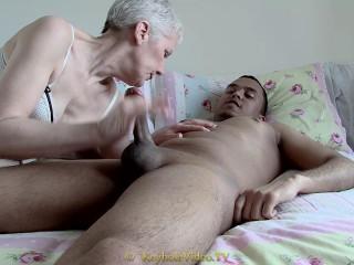 slim mature masturbates and suck black cock
