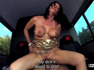 Bitchy german cougar Dacada gets jizz on orbs in harsh bus poke