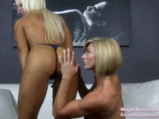 Muscle nymphs Megan Avalon and Goddess Ecstasy adore each others soles