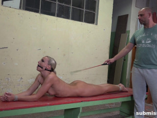 Ball gagged blonde in trouble