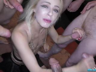 Three blonde sluts hunt bukkake cum