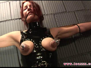 Melanie in the Dungeon - Ziptied on the Cross