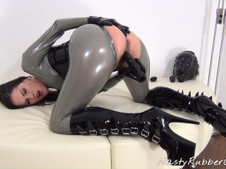 Dildo Fuck With Heavy Rubber Helmet, Inflatable Gag Part Two
