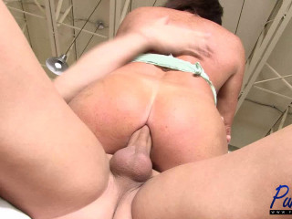 super hot TS MILF Lexxxis gets fucked in the kitchen