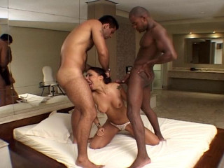 Hot Brazilian Monica Mattos gets 2 cocks