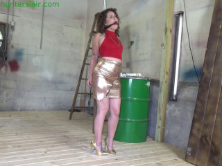 Bratty feminist cuffed to a post for intense bound orgasms