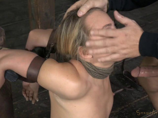 AJ Applegate fettered and blindfolded, facefucked with brutish summoning deep-throat