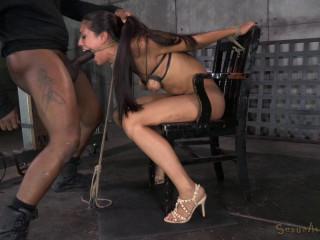 Lyla Storm brutally tied in strict strappado bondage