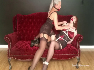 Girdle MILF Slave-Girl Punished with Bound Orgasms By Ballgaged Slave !