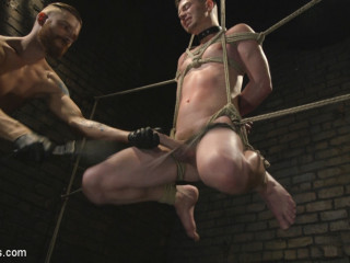 Slave boy with a giant cock submits to the whims of Mr Keys