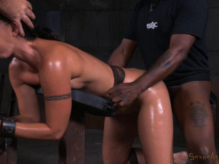 Wenona - Toned inked Mummy bent over in restrain bondage and used rock-hard from both completes (2015)